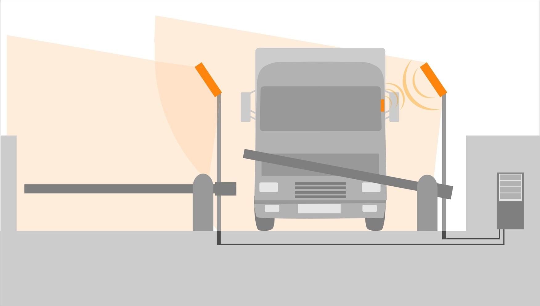 Illustration of RFID using for car identification. Trucks RFID identification